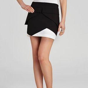 BCBGMAXAZRIA   Mini Pleated Wrap Skirt Black White